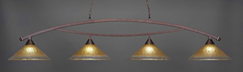 (Toltec Lighting 874-BRZ-710 Bow - Four Light Billiard, Bronze Finish with Amber Crystal Glass)