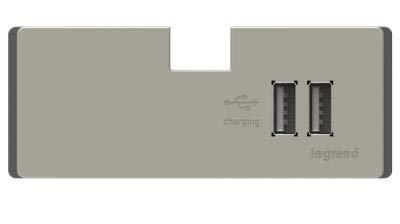 LEGRAND ADORNE UNDER-CABINET USB OUTLET MODULE IN TITANIUM APUSB3TM4