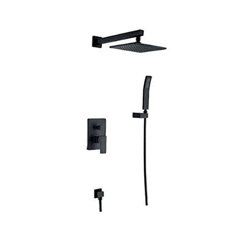 YHNUJMIK Shower Set Concealed Shower Set Wall-Mounted Shower Set with 8 inch Copper top Spray Copper Bathroom Shower Set