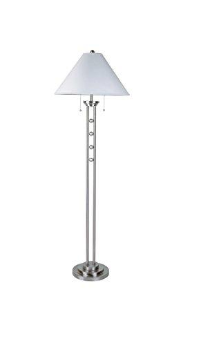 Major-Q 6231F Brushed Steel Floor Lamp,Remote Control Outlet, 63