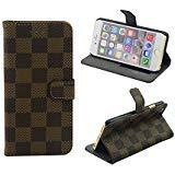 iPhone 6 Plus / 6S Plus, Brown Checker Designer Wallet Flip Cover Skin Case Stand