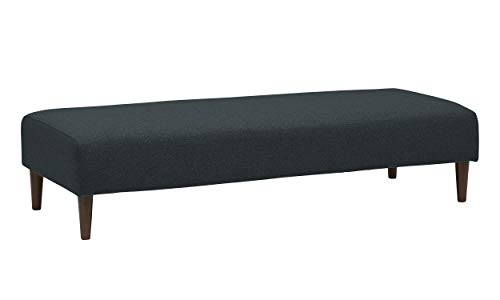 "Rivet Ava Modern Extra-Long Upholstered Ottoman with Tapered Legs, 63.4""W, Denim"
