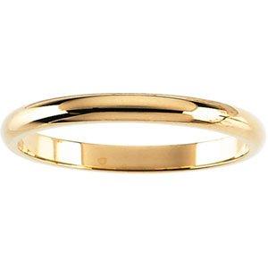 02.00 mm Half Round Band in 14K White Gold Size 11