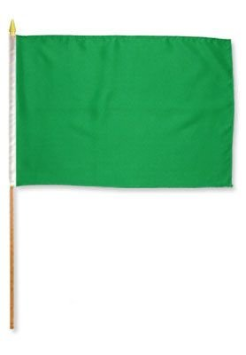 MWS 12x18 Green Stick Flag Mounted on a 24 inch Wooden Stick Staff (Super Polyester) Cloth Fabric (Sewn Edges for Durability) 12