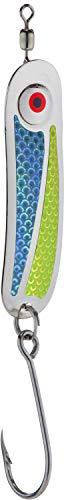 PEETZ Hookum 'Tropic Thunder' Premium Spoon Fishing Lure | Scale Aqua Blue & Scale Chartreuse | Saltwater Metal Gear for Ocean Trolling for Salmon