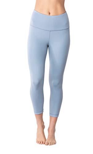 (Yogalicious High Waist Ultra Soft Lightweight Capris - High Rise Yoga Pants - Shadow Blue -)
