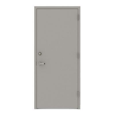 L.I.F Industries 36 in. x 80 in. Gray Flush Left-Hand Security Steel Prehung Commercial Door Welded Frame