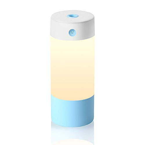 Sbode Humidifier, 250mL Cool Personal Mist Desk Portable Humidifiers for Babies Bedroom, Night Light Mode, USB Powered and Whisper Quiet for Office Home Car Travel(Blue)