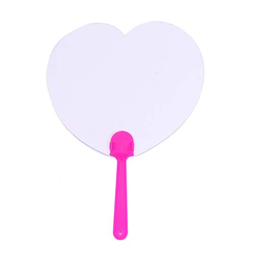 Monrocco 16 Pcs Heart Shape Blank Paper Paddle Fans for Painting Drawing DIY Crafts,Random Color - Fan Shape