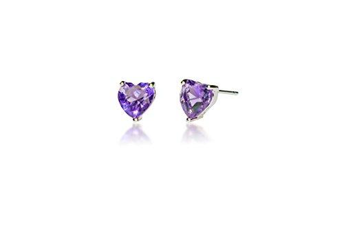 Hypoallergenic Surgical Steel Heart shaped Birth stone earrings for Girls (Birthstone Heart Childrens Earrings)