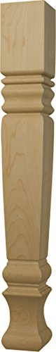 Desk Country Maple (Square Farm Dining Table Leg in Soft Maple - Dimensions: 29 x 3 1/2 inches)