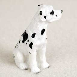 - Great Dane Miniature Dog Figurine - Uncropped Ears - Harlequin