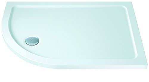 MX Group XFX 900 x 800 mm Offset Quadrant DucStone Low Profile Flat Top L/H Shower Tray - - Stone Mx Trays Resin