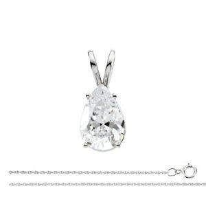 Pendentif et collier avec un solitaire diamant Poire Or blanc-585/1000 ( 0.74 Ct, K Couleur, SI2 Clarté)