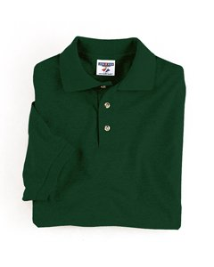 Jerzees Men's Blended Short Sleeve Polo Jersey, FOREST GREEN, - Knit Sport Jersey Shirt Blended