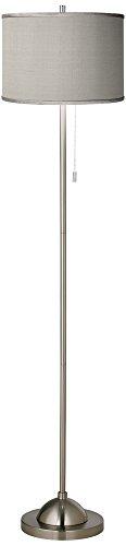 Gray Faux Silk Brushed Nickel Pull Chain Floor (Euro Nickel Floor Lamp)