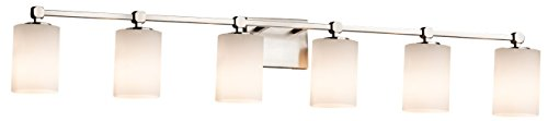 Justice Design Group Lighting FSN-8426-10-OPAL-CROM Fusion Tetra 6-Light Bath Bar Finish with Artisan Glass Opal-Cylinder with Flat Rim Shade, Polished Chrome Crom 6 Light Fusion