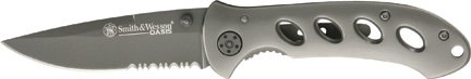 Smith And Wesson Titanium - Smith & Wesson SW423BS Oasis Serrated Drop Point Blade Knife, Titanium Coated Handle and Blade