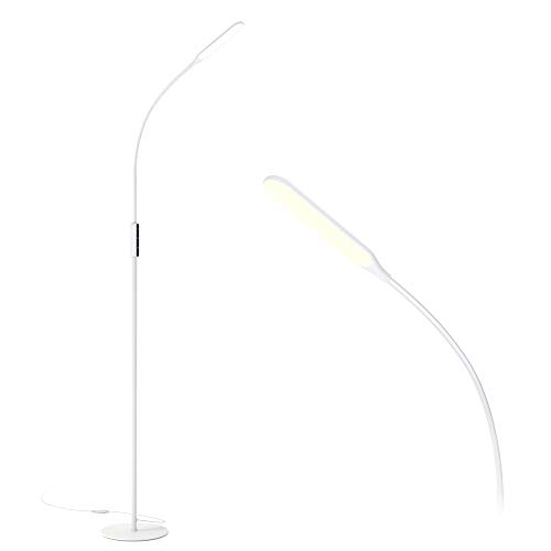 LED Floor Lamp White with 5 Brightness Levels & 3 Colors, Gladle Dimmable Tall Bright Light for Living Room Bedroom…