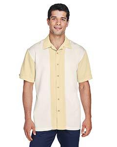 (Harriton Men's Two-Tone Bahama Cord Camp Shirt L Sand/Creme)