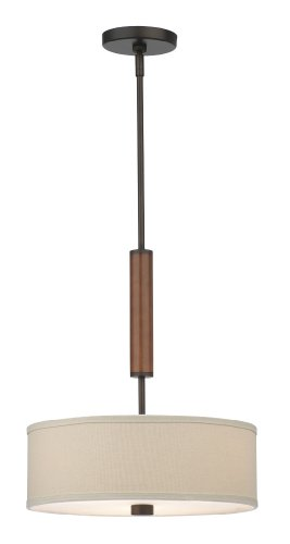 - Forecast Lighting Forecast F1303-20U Embarcadero Two-Light Energy Efficient Pendant with Vanilla Fabric Shades, Sorrel Bronze with Wood Accents