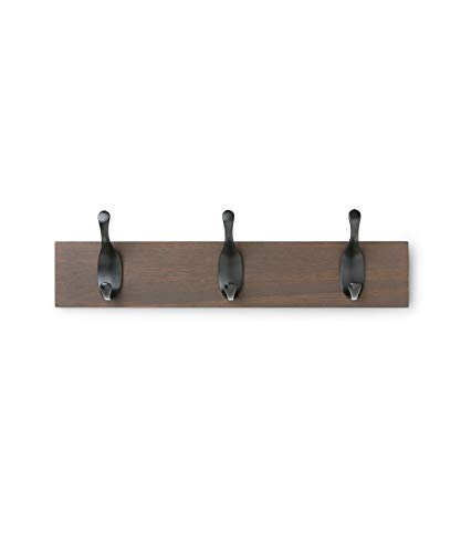 Wall Mounted Coat Rack - AmazonBasics Wall Mounted Coat Rack - 3 Modern Hook, Walnut