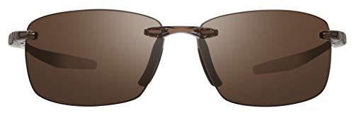 (Revo Unisex RE 4059 Descend N Rectangular Polarized UV Protection Sunglasses, Crystal Frame, Terra Lens)