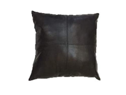 厚手の本革ブラックレザー枕カバー ソファの装飾用 クッションカバー ブラックレザー クッションカバー 無地 16''x16'' (2) ブラック 16''x16'' (2)  B07L92QVXY