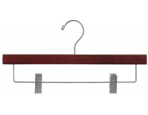 Wooden Bottom Hanger w/Clips, Walnut Finish with Chrome Hardware, Box of 25 by The Great American Hanger Company