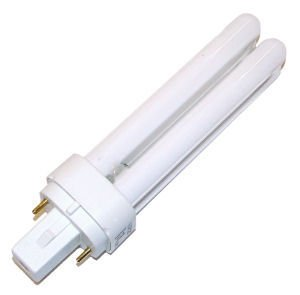 Compact Fluorescent Ge Light Bulb - GE Lighting 18844 - F13DBX23T4/SPX27 - 13 Watt CFL Light Bulb - Compact Fluorescent - 2 Pin GX23-2 Base - 2700K -