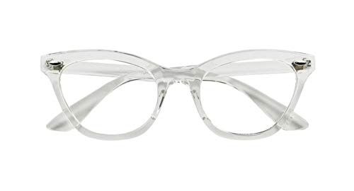 AStyles Vintage Inspired Half Tinted Frame Clear Lens Cat Eye Glasses (Clear-Frame, - Glasses Eye Cat Frame
