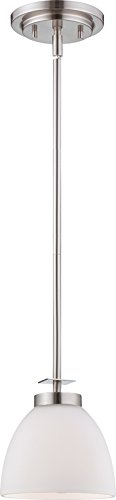 Nuvo Lighting 60/5015 Bentley One Light Mini-Pendant 100 Watt A19 Max. Frosted Glass Brushed Nickel Fixture