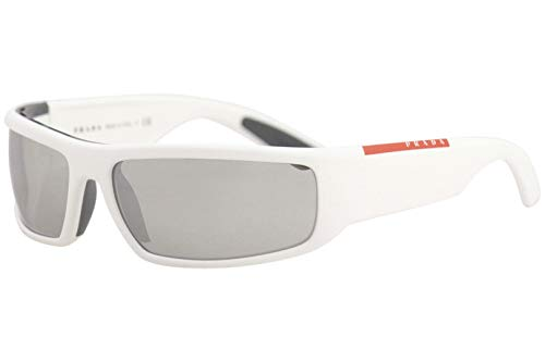 (Prada Linea Rossa Men's 0PS 02US White/Grey/Light Grey Mirror/Silver One Size)