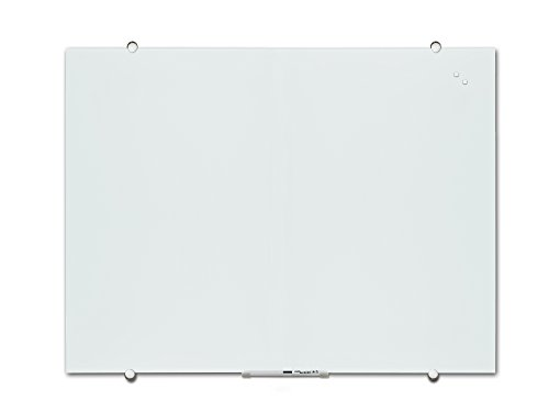 Magnetic Glass Dry Erase White Board with Pen Tray, 24''x36'', Marker and Magnets, White Surface, Frameless V VAB-PRO (24''x36'')