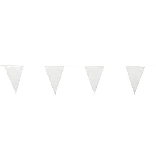 Fun Express - White Pennant Banner (100ft) - Party Decor - Hanging Decor - Pennants - 1 Piece ()