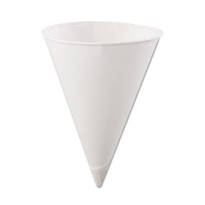 "Konie ""Rolled-Rim Paper Cone Cups, 4.5oz, White, 200/Bag, 25 Bags/Carton"" 25 packs of 200 cups each Unit of measure: CT, Manufacturer Part Number: KCI 4.5KR"