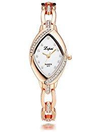 (Lvpai Rhombic Bracelet Watch Ladies with Diamonds Analog Quartz Movable Band Rose Gold P128-3…)