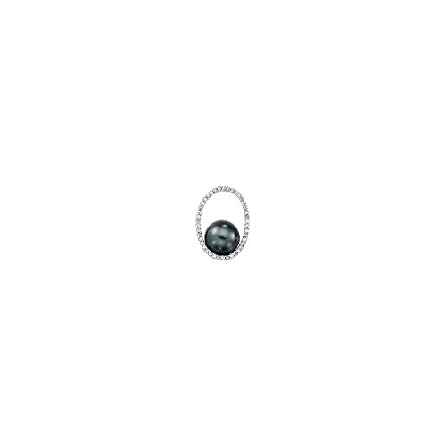 - Women's Tahitian Cultured Pearl and Diamond Pendant in 14k Polished White Gold –(1/3ctw, G-H, I1)