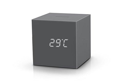 Gingko Gravity Cube Click Clock 3' x 3' Time/Date/Temp Grey Alarm...