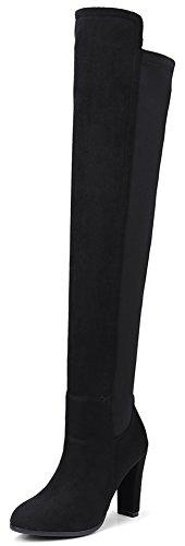 Idifu Womens Stretchy Hoge Dikke Hakken Pull Op Frosted Boven Knie Hoge Laarzen Dij Booties Zwart