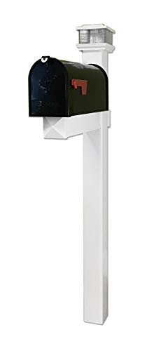(4EVER The Galaxy Black Steel Mailbox with LED Solar Light Cap and White Vinyl Post (Black Mailbox))