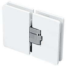 CRL Milano 180 Series White with Chrome Center Block 180° Glass-to-Glass Hinge