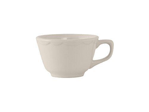 Tuxton TSC-001 Vitrified China Shell Round Cup, Scalloped, 7 oz, Eggshell (Pack of 36),