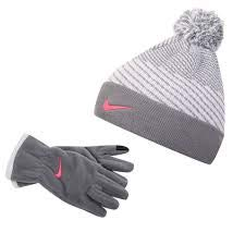 Nike Girl's 2-Piece Winter Striped Winter Ski Cap Hat Pom Beanie w/Fleece Grey Texting Gloves, Cool Grey/White/Pink, Size 7/17