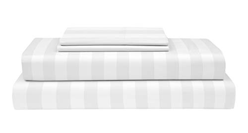 (Boston Linen Co. 400 Thread Count, 100% Cotton Sheet Set - Extra Soft, Luxury Finish - Smooth and Silky Sateen Weave Long-Staple Combed Cotton - 4 Piece Set (Queen, White Stripes))