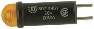 Dialight 507-4961-3733-500F Panel Mount Indicator, Led, Yellow, 28V