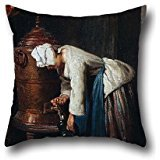 artistdecor 18 X 18 Inches / 45 by 45 cm Oil Painting Jean-SimÃon Chardin - Woman Drawing Water at The Cistern Cushion Cases,Two Sides is Fit for Lounge,Adults,Indoor,boy Friend,him,Study Room