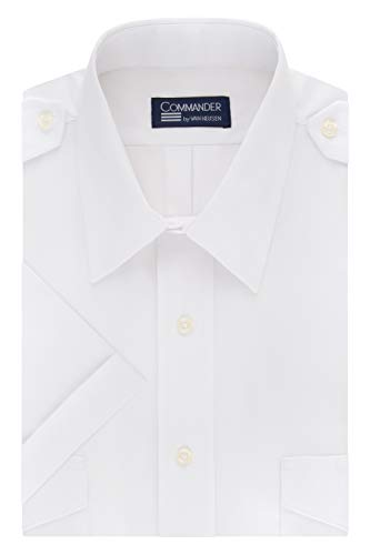 Van Heusen Men's Dress Short Sleeve Pilot Shirt, White, 16