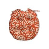 Resort Spa Home Decor Indoor/Outdoor Round Tufted Bistro Cushion with Ties - Mandarin Orange and White Coral Reef - Choose Size (16'')