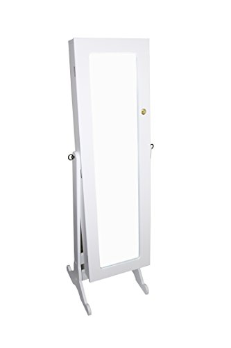 Ore International TH-6003WH Standing Mirror with Storage and Jewelry Armoire Stand, 57-Inch, White by ORE